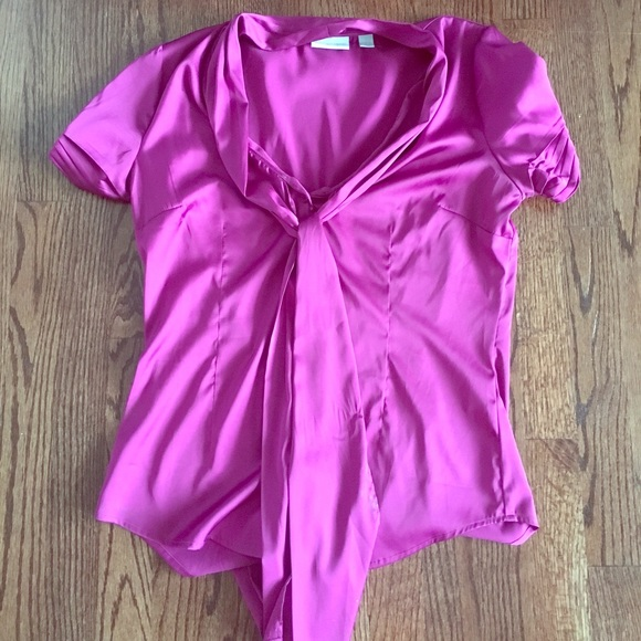 New York & Company Tops - NY and co pink satin blouse worn once!